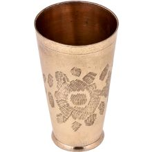 Big Flower Etched Golden Brass Lassi Glass Cup