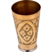 Flowers Etched Floral Design Brass Lassi Glass Cup