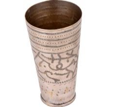 Jai Hind Engraved Brass Lassi Glass Cup With Leaves