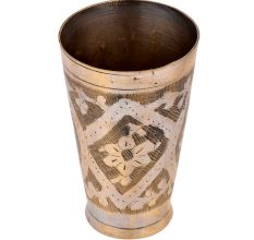 Traditional  Brass Lassi Glass Cup Flower Design Pattern