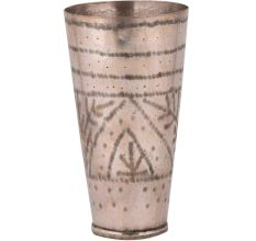 Brass Lassi Glass Cup With Geometric Pattern And Triangle Design