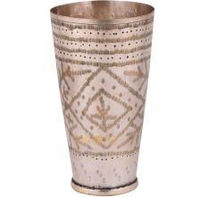 Handmade Leaf Design Brass Punjabi Lassi Glass