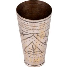 Brass Punjabi Lassi Glass Cup Dotted Triangular Rings Design