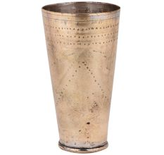 Golden Brass Lassi Glass Cup With Faded Dotted Design