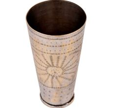 Big Tribal Flower Engraved Brass lassi Glass Cup