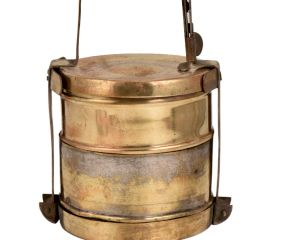 Brass Tiffin Box With Two Containers And Metal Frame