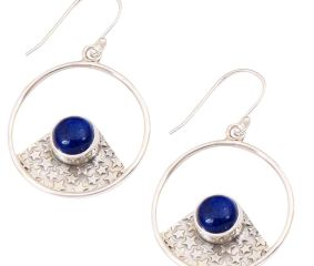 Blue Lapis  Natural Gemstone 92.5 Sterling Silver Antique Handmade Boho Female Dangle Earrings