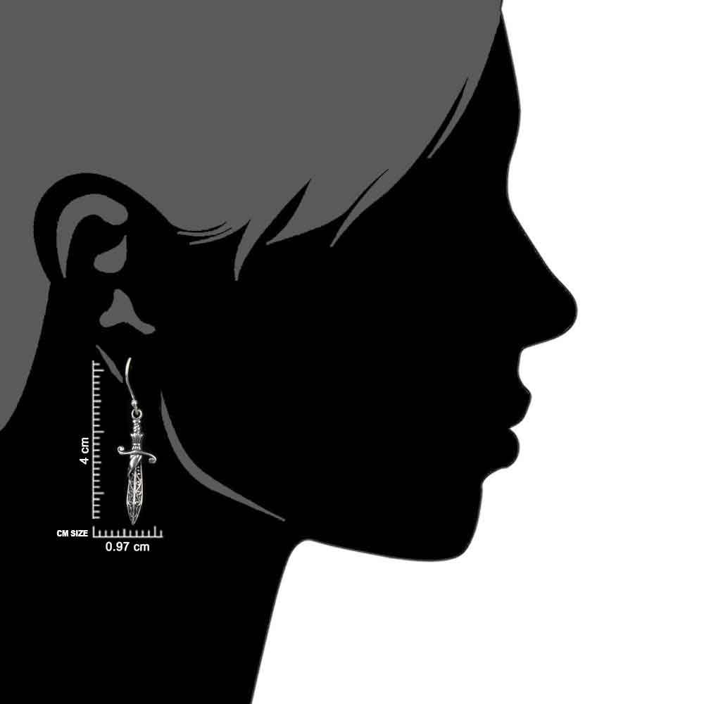 Sword Dagger 92.5Sterling Silver Earrings Tribal Swirling Patterns