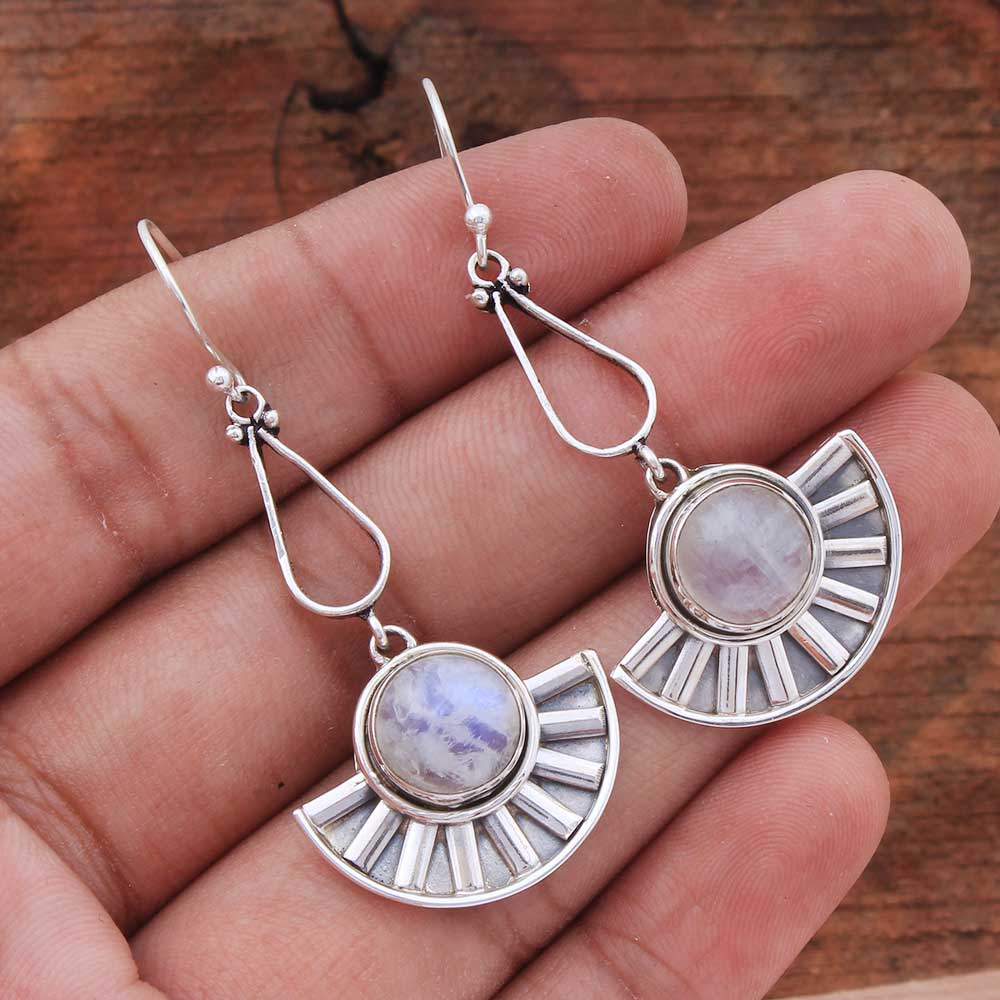 Natural Rainbow Moonstone Gemstone 92.5 Sterling Silver Handmade Female Dangle Earrings
