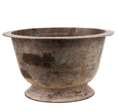 Brass Flower Pot with Circular Base Stand