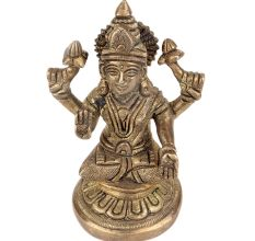 Brass Goddess Laxmi statue Sitting Four hands On Lotus Seat