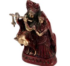 Brass Radha Krishna Statue With Red polish