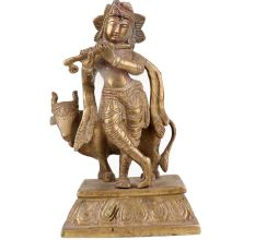 Brass Standing Krishna Statue With His Cow And Flute