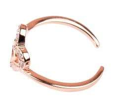 92.5 Sterling Silver Toe Ring With Double Heart For Women With Rose gold Polish (Pair)