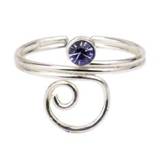 Wired 92.5 Sterling Silver Toe Ring  With Blue American Diamond (Pair)