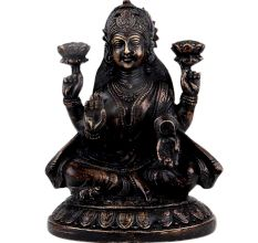 Brass Sitting Lama Statue On Lotus Base With Four Hands
