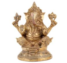 Handmade Brass Ganesha Statue For Worship