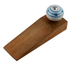 Blue Striped Dotted Cackle Wooden Door Stopper