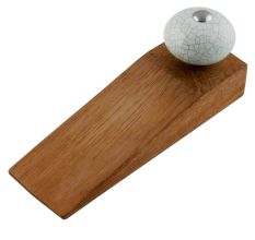 Cream Green Crackle Handmade Wooden Door Stopper