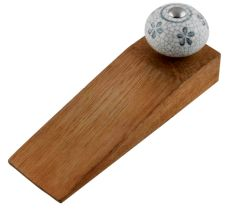 Grey Floral Crackle Ceramic Wooden Door Stopper