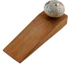 Multicolor Crackle Ceramic Wooden Door Stopper