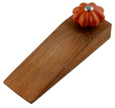 Orange Crackle Melon Ceramic Wooden Door Stopper