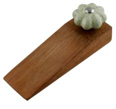 Washed Green Crackle Ceramic Melon Wooden Door Stopper