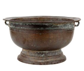Old Brass Flower Pot With Single Side Loops for Hanging
