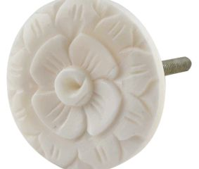 Cream Wild Rose Flower Bone Cabinet Knobs