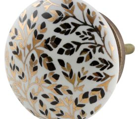 Golden And Black Leaf Flat Ceramic Cabinet Knobs