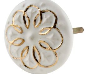 Cream Gold Floral Ceramic Dresser Knobs