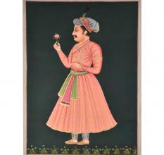 Rare mughal painting of emperor Akbar with a rose 48 X 36