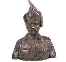 Brass Indian Military Solider Officer Bust Statue Showpiece