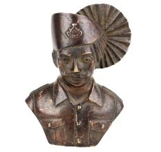 Brass Indian Officer Bust Home Decoration Statue