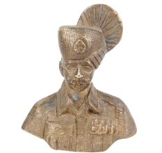 Handmade Brass Army Soldier Bust Home Decoration Statue