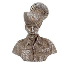 Brass Indian Turban Clad Army Solider Bust