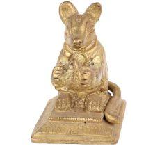 Brass Golden Rat Statue Sitting Holding Fruit