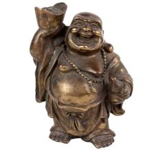 Brass Standing Laughing Buddha Statue For Good Luck