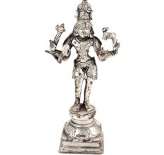Brass Lord Vishnu Standing Idol Statue Worship Silver Finish