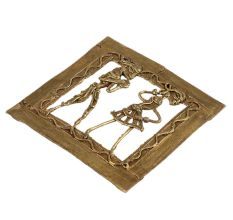 Golden Brass Dhokra Tribal Figurines Wall Hanging