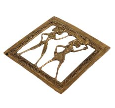 Brass Dhokra Wall Art Hanging Hunting Couple In Square Border