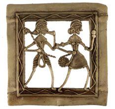 Brass Dhokra Wall Art Tribal Couple Musician Dancing