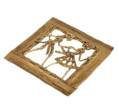 Brass Wall Art Rural Couple Holding Hands Dancing Activity In Square Frame