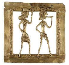 Brass Wall Art Tribal Lady Holding A Club And Man Playing Flute