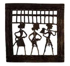 Decorative Dhokra Art Hanging A Farmer With Two Tribal Ladies