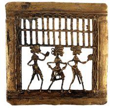 Brass Dhokra Art Tribal Dancing Troupe Decorative Border On Top