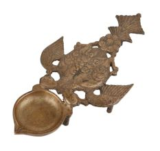 Brass Oil Lamp Deepak With Peacock Bird Handle