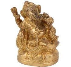 Brass Ganesha Statue Sitting With Modak In Hand
