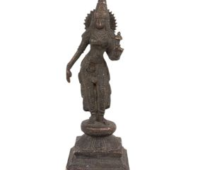 Brass Goddess Laxmi Statue Standing With Lotus Flower