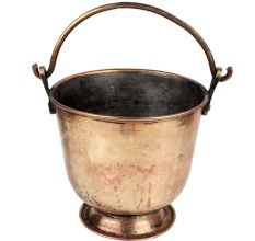 Brass Bucket Golden With Swing Handle And Round Base